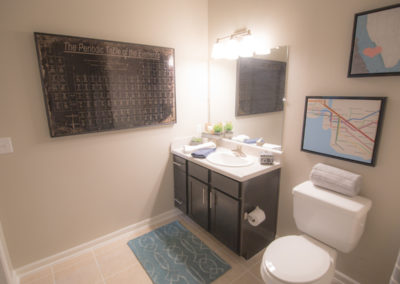 Bathroom at the Bridge at Cameron with a dark brown vanity, tile flooring with a blue rug, and an image of the Periodic Table of the Elements on the wall