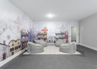 Kid's Playroom with 4 bean bag chairs